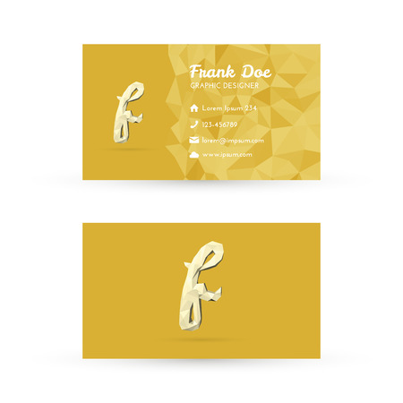 Low Poly Business Card Template with Initials Letter F - Vector Illustration - Self Promo Element Vector