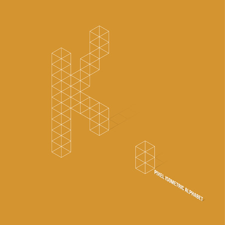 Wireframe Pixel Isometric Alphabet Letter K - Vector Illustration - Flat Design - Typography Vector
