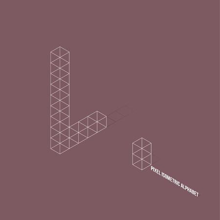 l: Wire frame Pixel Isometric Alphabet Letter L