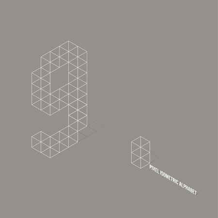 Wire frame Pixel Isometric Number 9  Vector