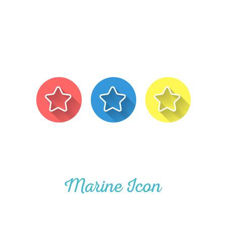 invertebrate: Starfish Marine Flat Icon - Webdesign Element with Long Shadow - Vector Illustration