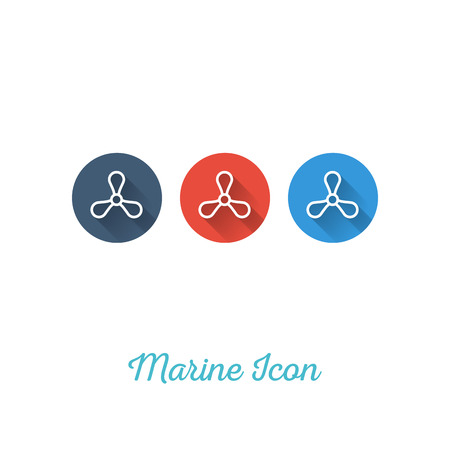 Propeller Marine Flat Icon - Webdesign Element with Long Shadow - Vector Illustration
