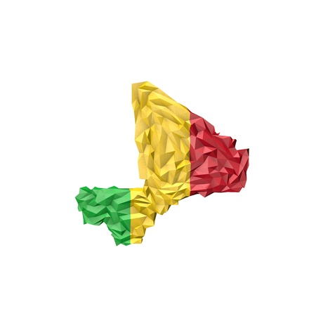 mali: Low Poly Mali Map with National Flag - Infographic Illustration Stock Photo