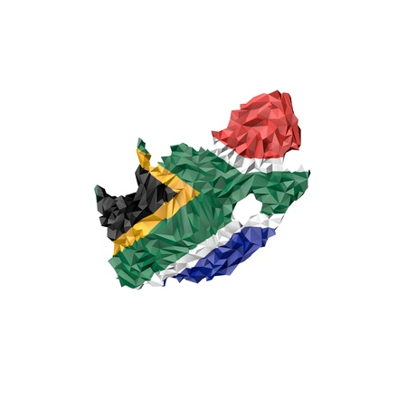 south africa map: Low Poly South Africa Map with National Flag - Infographic Illustration