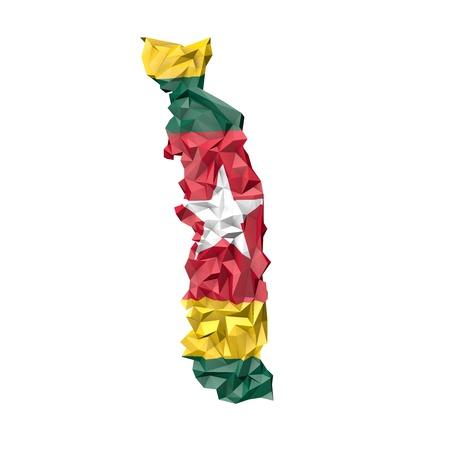 togo: Low PolyTogo Map with National Flag - Infographic Illustration