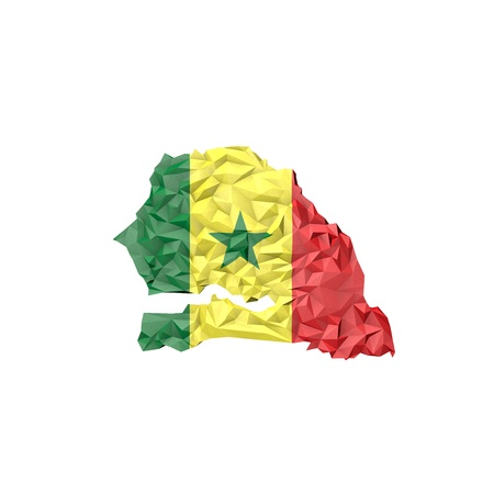 dakar: Low Poly Senegal Map with National Flag - Infographic Illustration