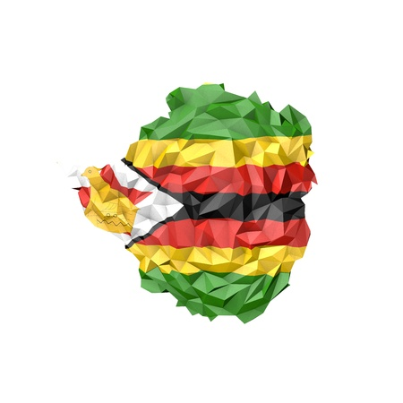 Low Poly Zimbabwe Map with National Flag - Infographic Illustration illustration