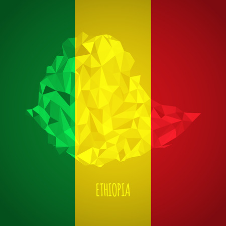 Low Poly Ethiopia with National Colors - Infographic - Vector Illustration Vector