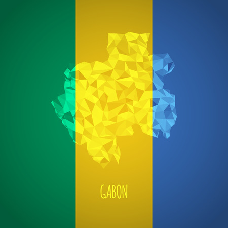 Low Poly Gabon with National Colors - Infographic - Vector Illustration Vector