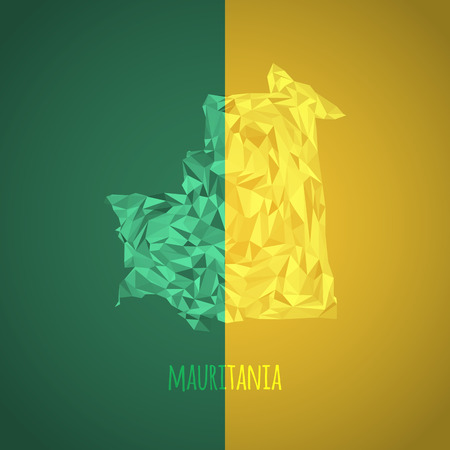 national colors: Low Poly Mauritania with National Colors - Infographic - Vector Illustration