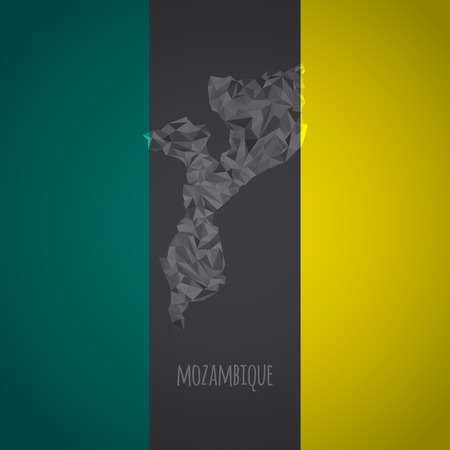 mozambique: Low Poly Mozambique with National Colors - Infographic - Vector Illustration
