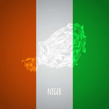 national colors: Low Poly Niger with National Colors - Infographic - Vector Illustration Illustration