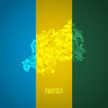 kigali: Low Poly Rwanda with National Colors - Infographic - Vector Illustration