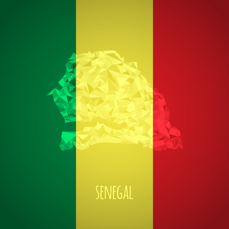 dakar: Low Poly Senegal with National Colors - Infographic - Vector Illustration Illustration