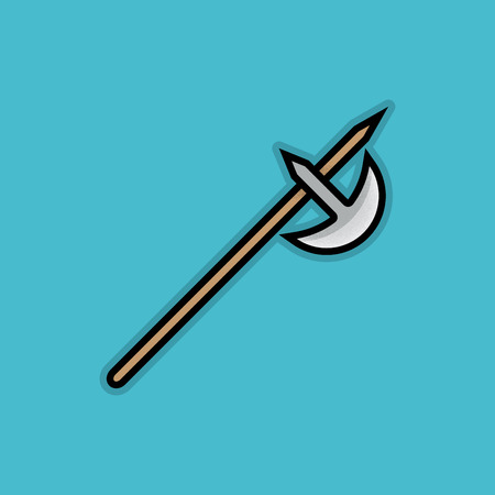 halberd: Flat Stroke Halberd Icon - Vector Illustration - Fantasy Weapon