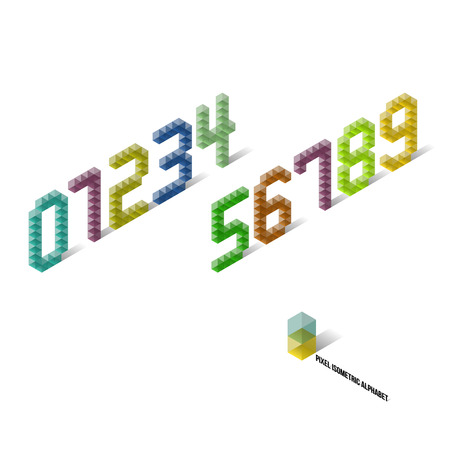 Pixel Isometric Perspective Numbers - Typography Element - Vector Illustration Vector
