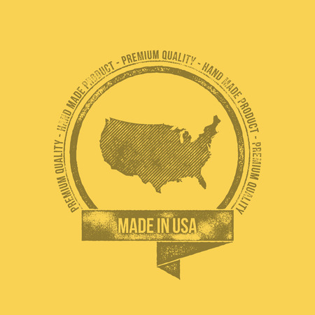 tshirt design: Made in USA Retro Vintage Dirty Badge Label - T-shirt Design - Hand Made Product - Vector Illustration