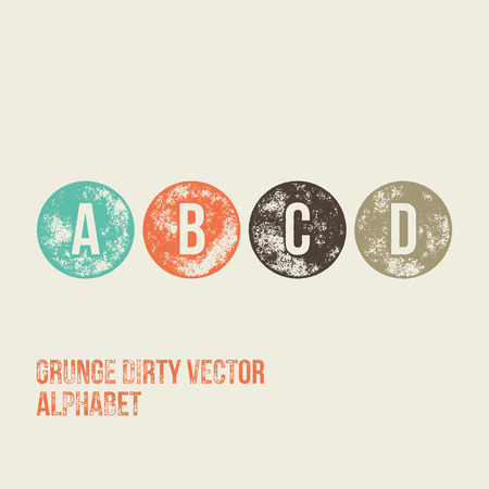 d: A B C D Grunge Retro Circular Stamp Type - Vector Alphabet - Font Illustration