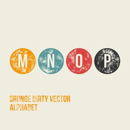 n: M N O P Grunge Retro Circular Stamp Type - Vector Alphabet - Font