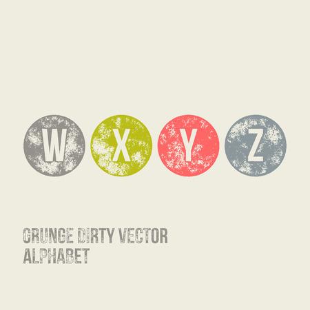 W X Y Z Grunge Retro Circular Stamp Type - Vector Alphabet - Font Vector