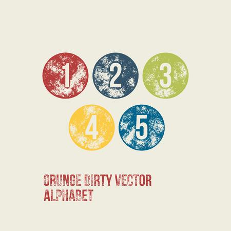dirt texture: Grunge Retro Circular Stamp Type - Vector Numbers