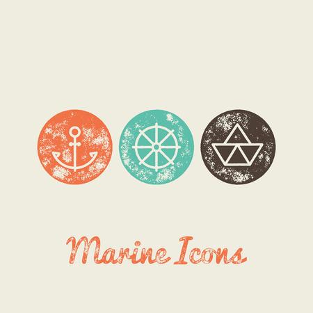 nautic: Anchor, Boat, Helm Marine Retro Icons - Grunge Vintage Design - Vector Illustration