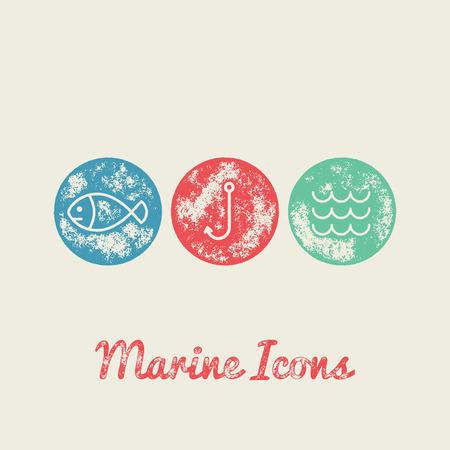 nautic: Fish, Fishing Hook, Waves  Marine Retro Icons - Grunge Vintage Design - Vector Illustration