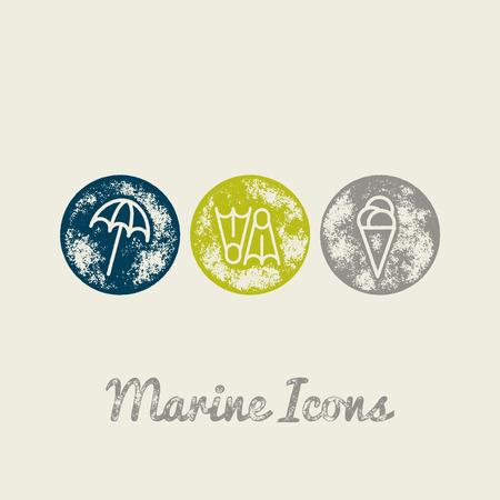 ice water: Parasol, Fins, Ice cream Marine Retro Icons - Grunge Vintage Design - Vector Illustration