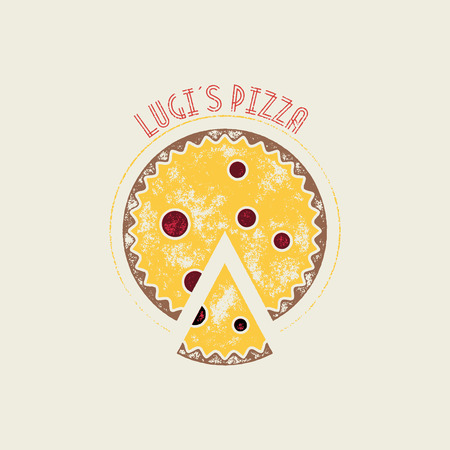 pizzeria label design: Lugis Pizza Retro Vector Stamp or Logo Template Illustration