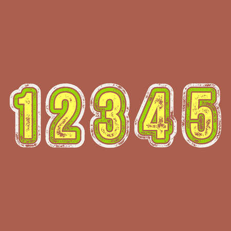 4 5: 1 2 3 4 5 - Grunge Colorful Retro Numbers -  Vector Alphabet