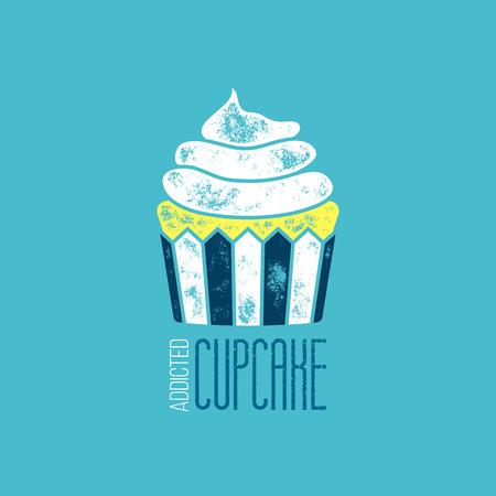 addicted: CupCake Addicted Vector T-Shirt Design - Vintage Retro Delicious Goody Illustration
