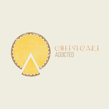 addicted: Cheesecake Addicted T-Shirt Vector Design - Vintage Retro Picture