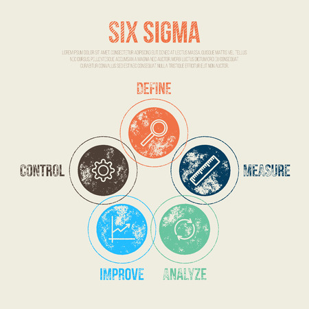 productivity system: Six Sigma Project Management Diagram Template - Vector Illustration - Infographic Element