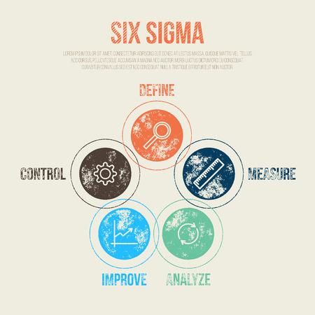 Six Sigma Project Management Diagram Template - Vector Illustration - Infographic Element Vetores