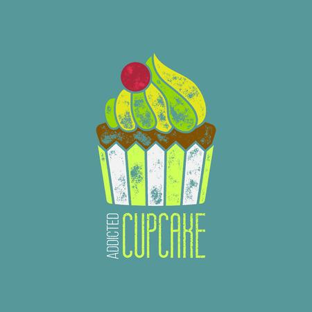 addicted: CupCake Addicted Vector T-Shirt Design - Vintage Retor Delicious Goody Illustration