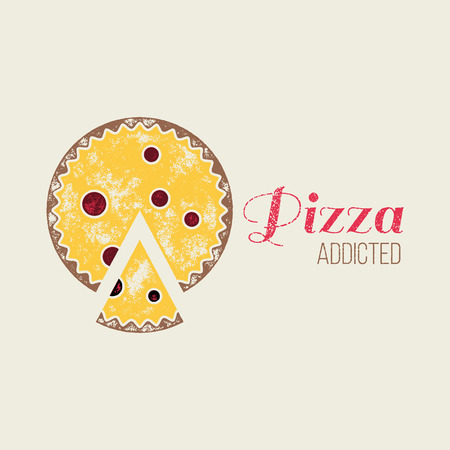 addicted: Pizza Addicted T-Shirt Vector Design or Logo Template - Badge Illustration