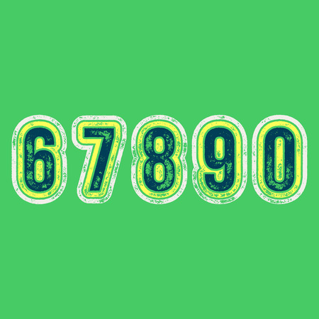 8 9: 6 7 8 9 0 - Grunge Colorful Retro Numbers -  Vector Alphabet