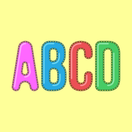 headings: A B C D - Candy Colorful Editable Vector Alphabet - Simple capital type can be used for infography, webdesign or any other design - Suitable for titles and headings