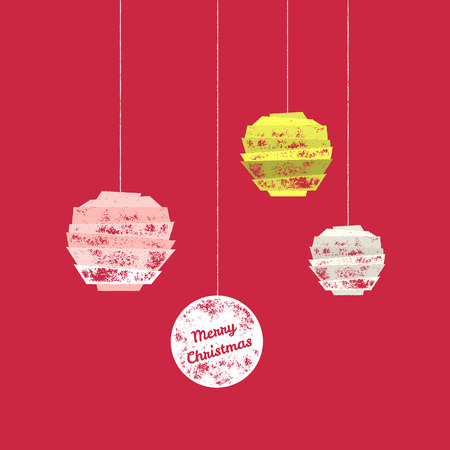 greetings card: Merry Christmas greetings card with three retro scratched christmas ornaments on red background - Vector illustration