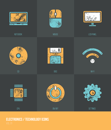 od: Electronics  Technology Vecotor Grunge Icons VOL.1 - Set od nine icons with grunge retro vector texture - Infographic resource