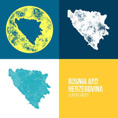 bosnian: Bosnia and Herzegovina Grunge Retro Map - Three silhouettes Bosnia and Herzegovina maps with different unique letterpress vector textures - Infographic and geography resource