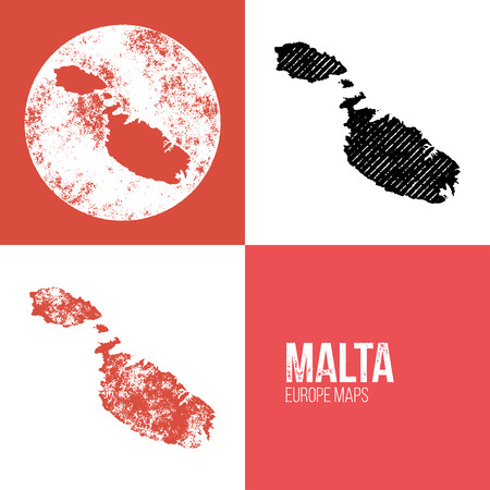 maltese map: Malta Grunge Retro Map - Three silhouettes Malta maps with different unique letterpress vector textures - Infographic and geography resource