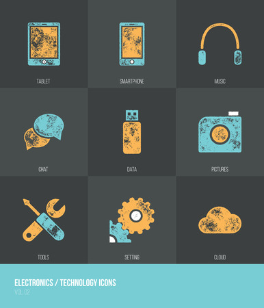 od: Electronics  Technology Vecotor Grunge Icons VOL.2 - Set od nine icons with grunge retro vector texture - Infographic resource Illustration