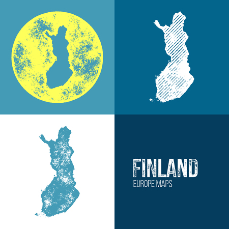 suomi: Finland Grunge Retro Map - Three silhouettes Finland maps with different unique letterpress vector textures - Infographic and geography resource