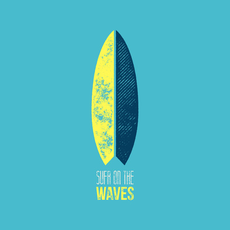 surf silhouettes: Surf on The Waves T-Shirt Design - Yellow and Dark Blue Surf Board on Light Blue Background with Surf on The Waves Sign Illustration
