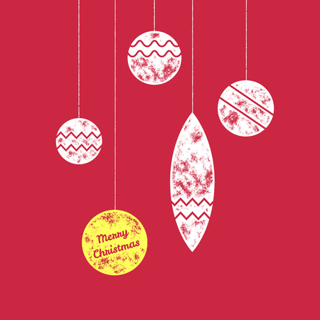 festive background: Merry Christmas greetings card with four retro scratched christmas ornaments on red background - Vector illustration