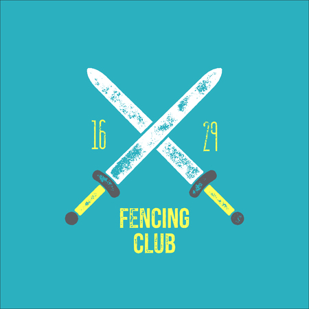 t shirt design: Fencing club t -shirt  design - vector illustration - crossed swords on light blue background with fencing club sign and era Illustration