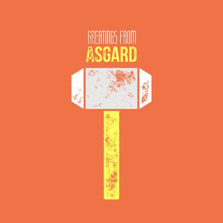 Thors 메시지 티셔츠 또는 만화 디자인 - 벡터 일러스트 레이 션 - asgard 기호에서 인사와 오렌지 배경에 망치 일러스트