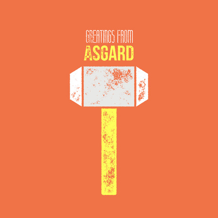 asgard: Thors message t-shirt or  comic design - vector illustration - hammer on orange background with greetings from asgard sign Illustration