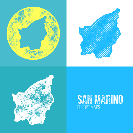 marino: San Marino Grunge Retro Map - Three silhouettes San Marino maps with different unique letterpress vector textures - Infographic and geography resource Illustration